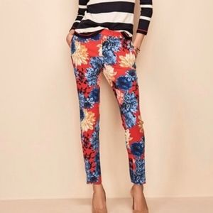 6 Talbots Chatham Red Floral Dahlia Ankle Pants